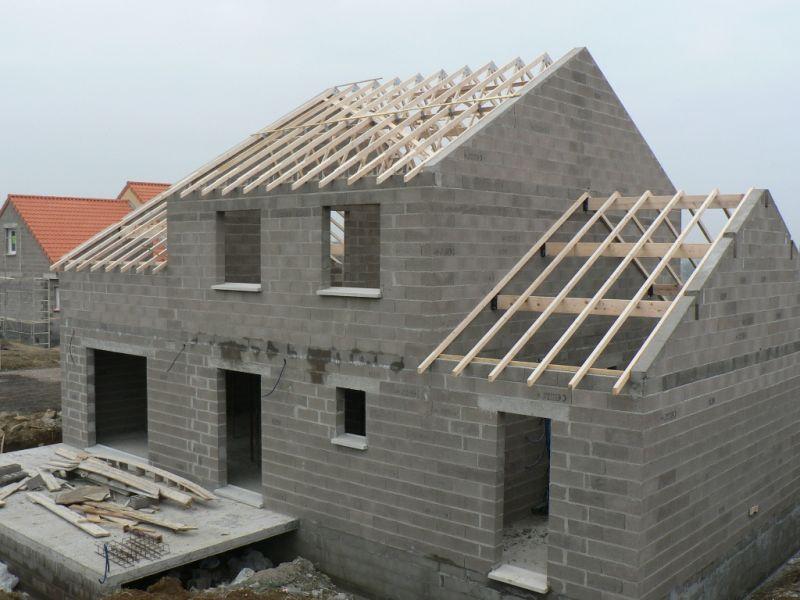 construction des maisons m chy 14 02 08 pose de la charpente. Black Bedroom Furniture Sets. Home Design Ideas